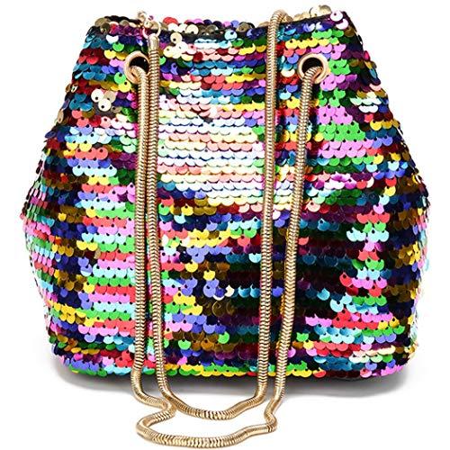 (Women Glitter Reversible Sequins Shoulder Bag Small Drawstring Bucket Bag Chain Bag Handbag)