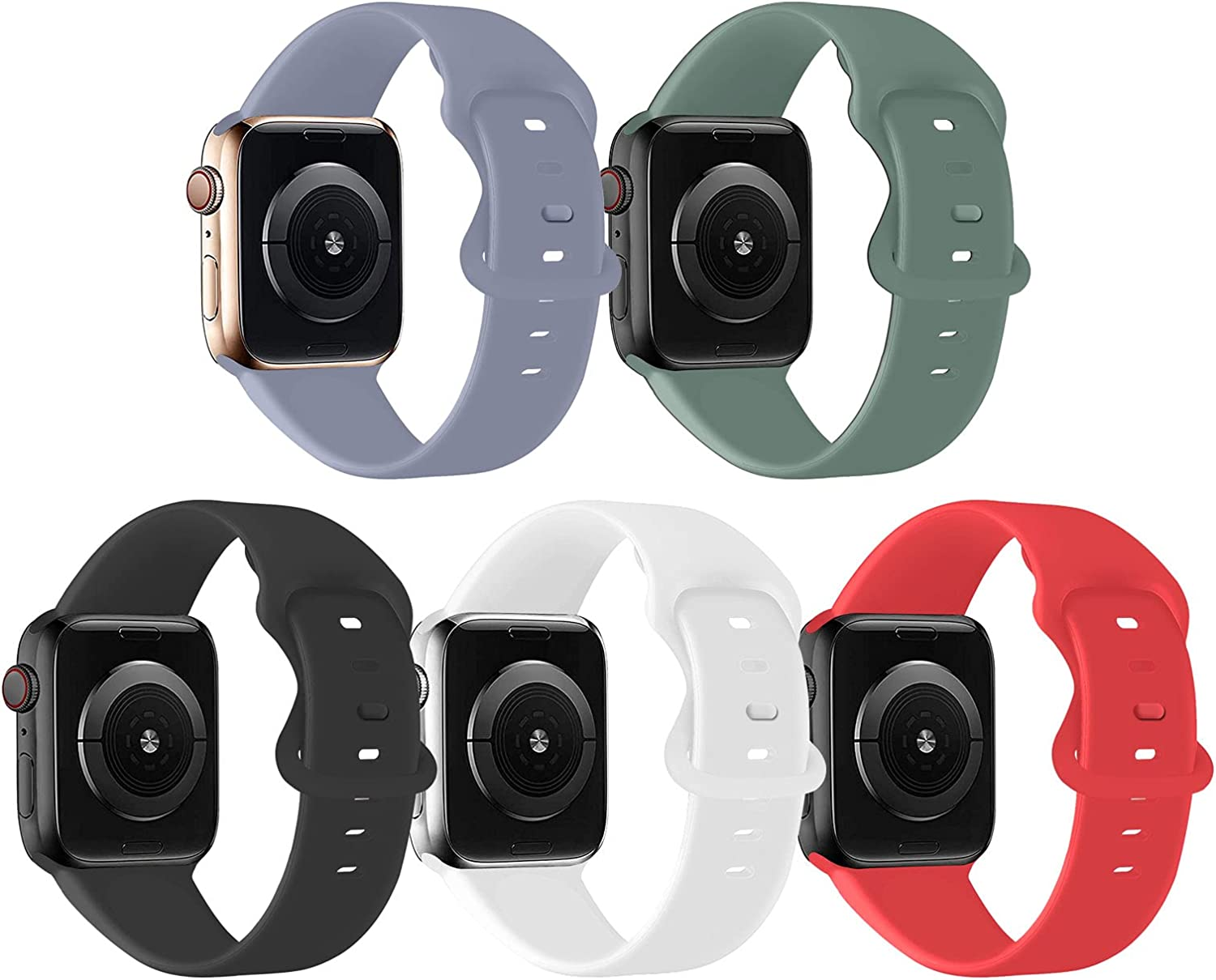 Bifeiyo 5 Pack Sport Bands Compatible with Apple Watch Band 38MM 40MM SM,Soft Silicone Replacement Strap Compatible for iWatch Series SE 6 5 4 3 2 1 Women Men,Black/White/Lavender Gray/Pine Green/Red