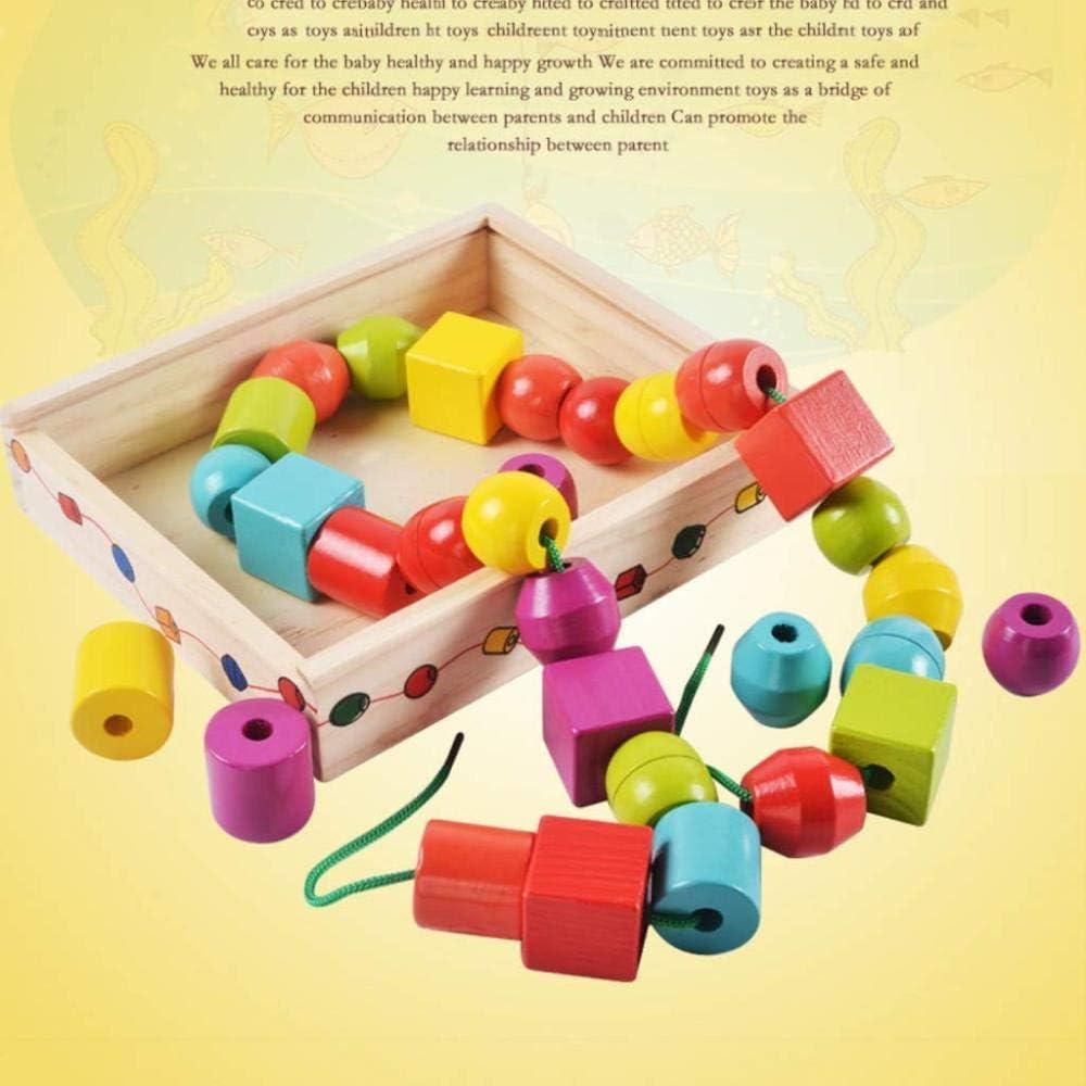 ZHENGYU Forme G/éom/étrique en Bois Perles /à La/çage Enfants Blocs Montessori Enfiler Cadeau De Jouets /éducatifs pour Enfants