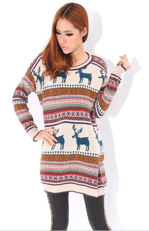 Woman Vintage Oversized Christmas Reindeer Snowflake Jumper Dress ...