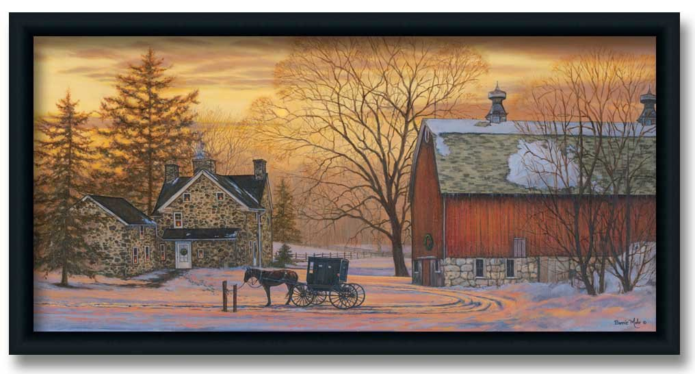 Amazon.com: Evening Visit Amish Art Print Picture Framed 30x16 ...