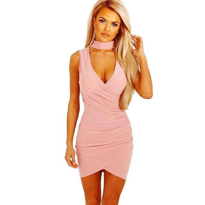 Kleider Damen Dasongff Damen Bleistiftkleid Minikleid Choker V-Ausschnitt  Wrap über Abend Kleider Sleeveless Slim 57f5c823fb