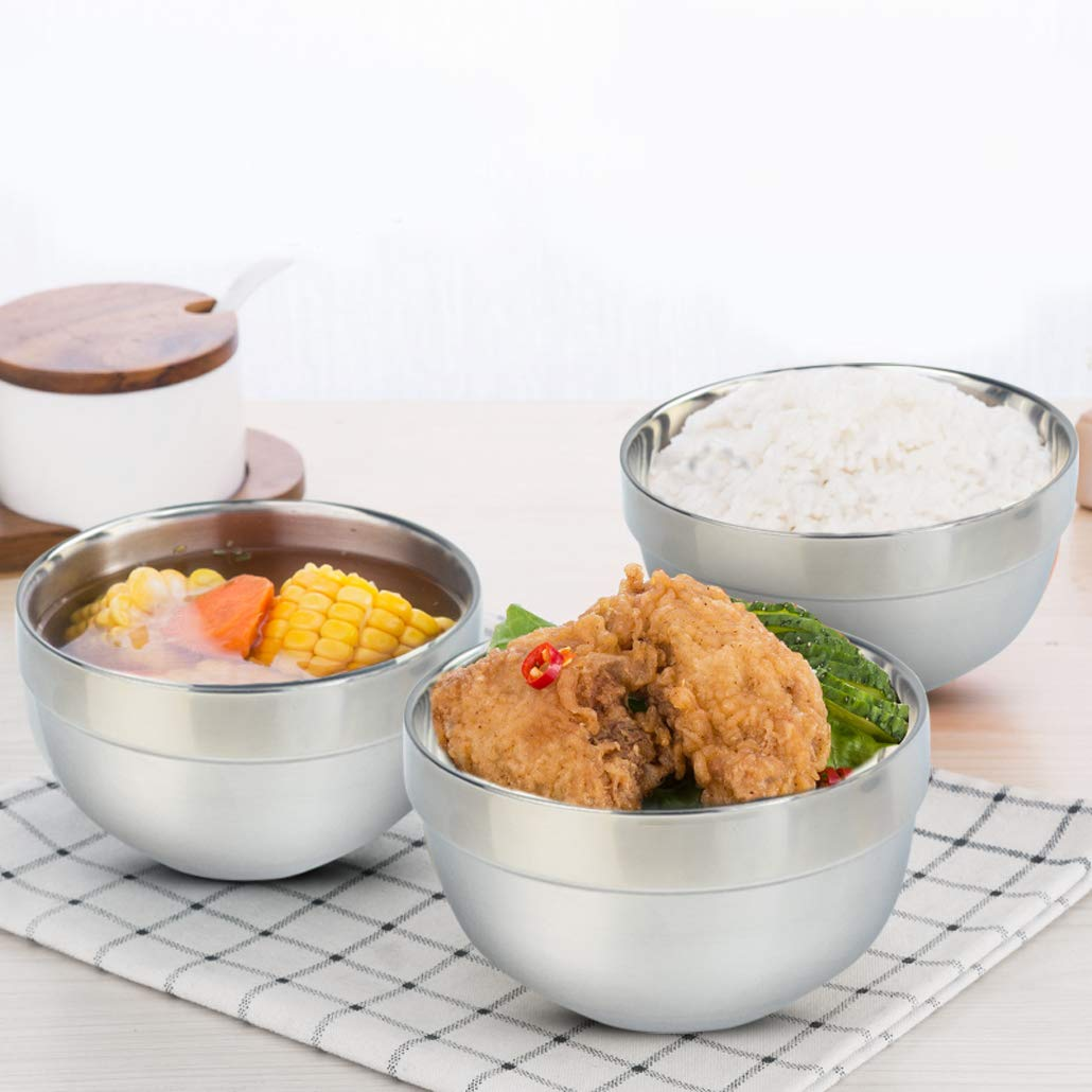 Stainless steel bowl set, Mixing Bowl Set 6 Pack 13 OZ, Can be used as a rice bowl, soup bowl, ice cream bowl and snack bowl, Poualss