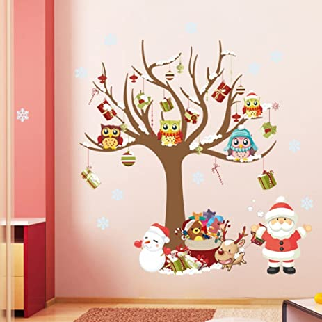 livegallery lg 1222 merry christmas wall decal santa claus wall stickers christmas tree wall decor - Christmas Wall Decal