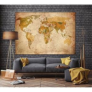Correspondencia del Viejo Mundo en la mirada de la vendimia XXL mural en 140 cm x 100 cm imagen Decoración mapamundi pared retro HD pósters   Mapa de la pantalla mural antigua   + Calendario 2018