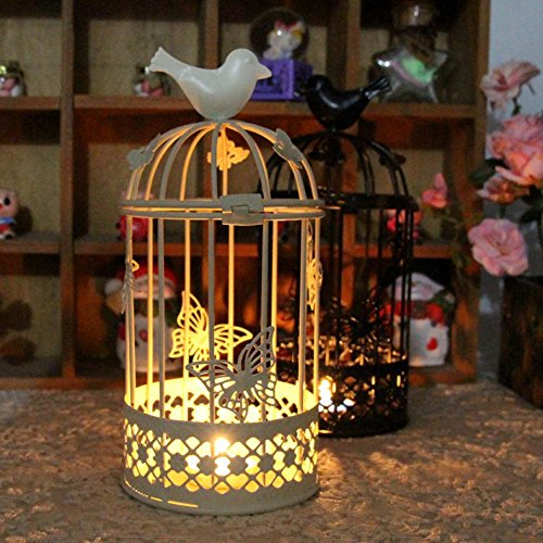 (Quaanti Candlestick Hanging Candle Holders Tealight Birdcage Lantern,Tabletop Pillar Candleholder,Hollow Vintage Decorative Centerpieces of Wedding & Party Home Decoration,Anniversary,Birthday (White) )