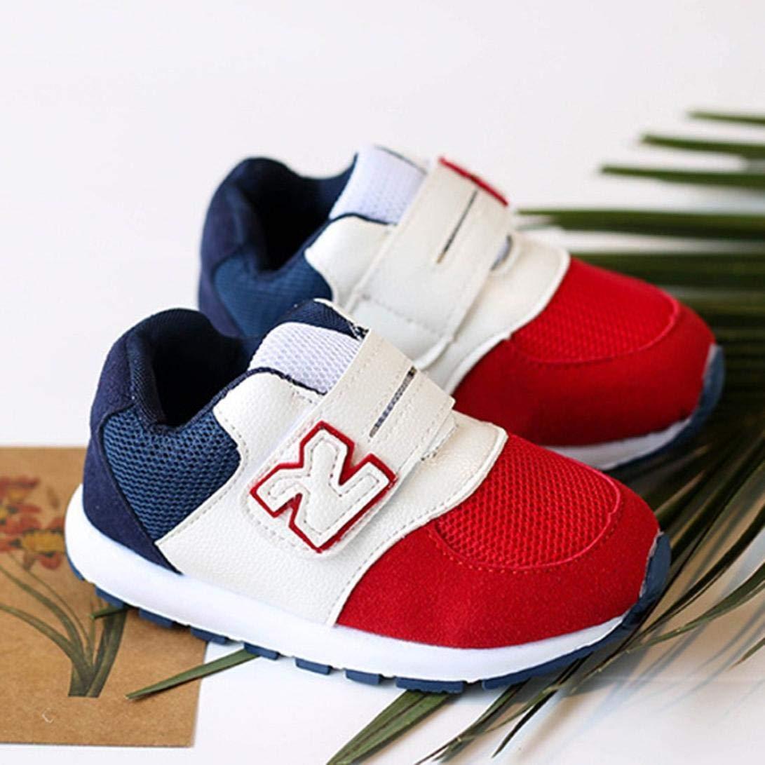 1c45e3ebf55d8 GongzhuMM Coloblock Lettre Baskets Basses Mixte Enfant Fille Garcon Mode  Chaussures Bebe Maille Respirant Sneakers Premier Pas Bébé 1 Ans-6 Ans ...