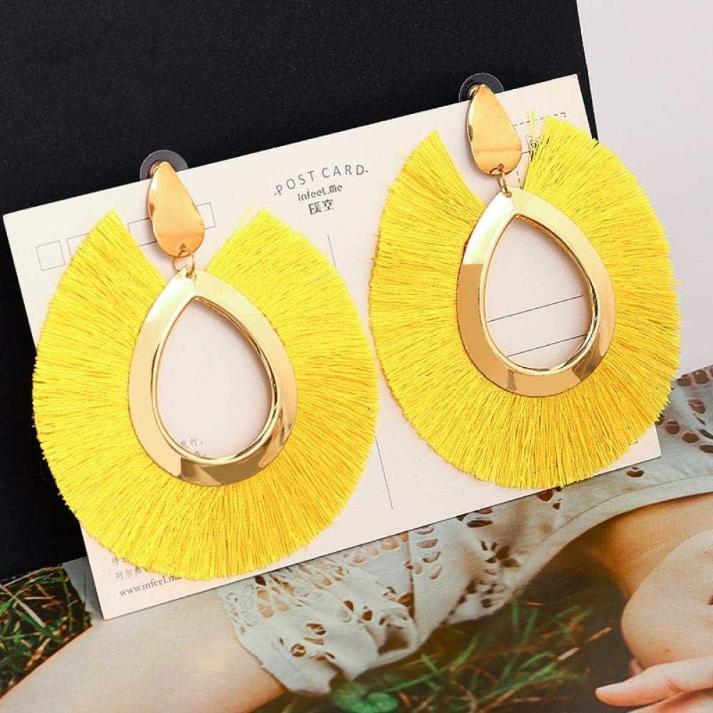XIANNU Cuelga los Pendientes,Elegante Moda Bohemia Declaración Amarillo Pendientes Grandes de Borla Gotas de Agua Tela de Seda Pendientes Colgantes para Mujeres Joyas Mujer Bijoux