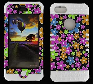 APPLE IPHONE 5 FLOWERS ON BLACK HEAVY DUTY CASE + WHITE GEL SKIN SNAP-ON PROTECTOR ACCESSORY