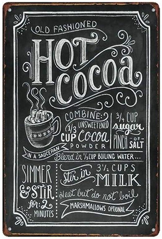 Metal Tin Sign old fashioned cocoa Decor Pub Bar Vintage Retro Cafe ART