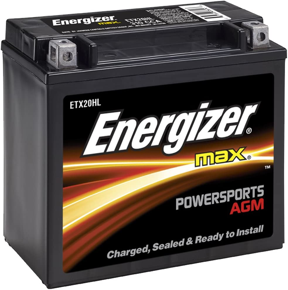 Energizer ETX20HL AGM Motorcycle and ATV 12V Battery, 310 Cold Cranking Amps and 18 Ahr.Replaces: YTX20L-BS and others