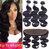 Amella Hair 10A Brazilian Body Wave Frontal(16 18 20+14 Frontal) Bundles with Frontal Ear to Ear Lace Frontal Closure with Bundles Brazilian Body Wave Frontal with Baby Hair Natural Black Color