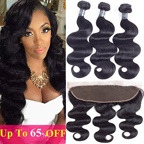 Amella Hair 10A Brazilian Body Wave Frontal(16 18 20+14 Frontal) Bundles with Frontal Ear to Ear Lace Frontal Closure with Bundles Brazilian Body Wave Frontal with Baby Hair Natural Black Color by Amella hair