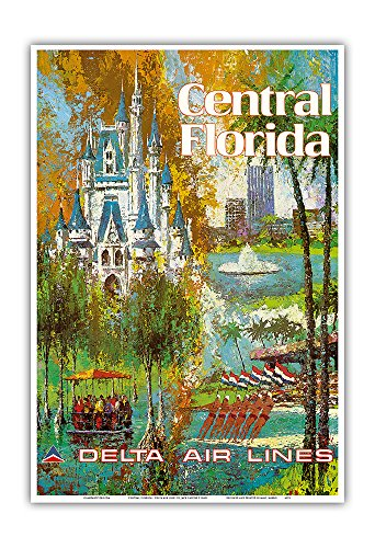 Pacifica Island Art Central Florida - Orlando - Walt Disney World Resort - Delta Air Lines - Vintage Airline Travel Poster by Jack Laycox c.1960s - Master Art Print - 13in x 19in