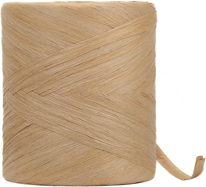 HRX Package Raffia Paper Craft Ribbon, 218 Yards by 1/4 inch Width Kraft Matte Paper Ribbon, Craft DIY Supply, Wrapping Hanging Tags (Kraft)