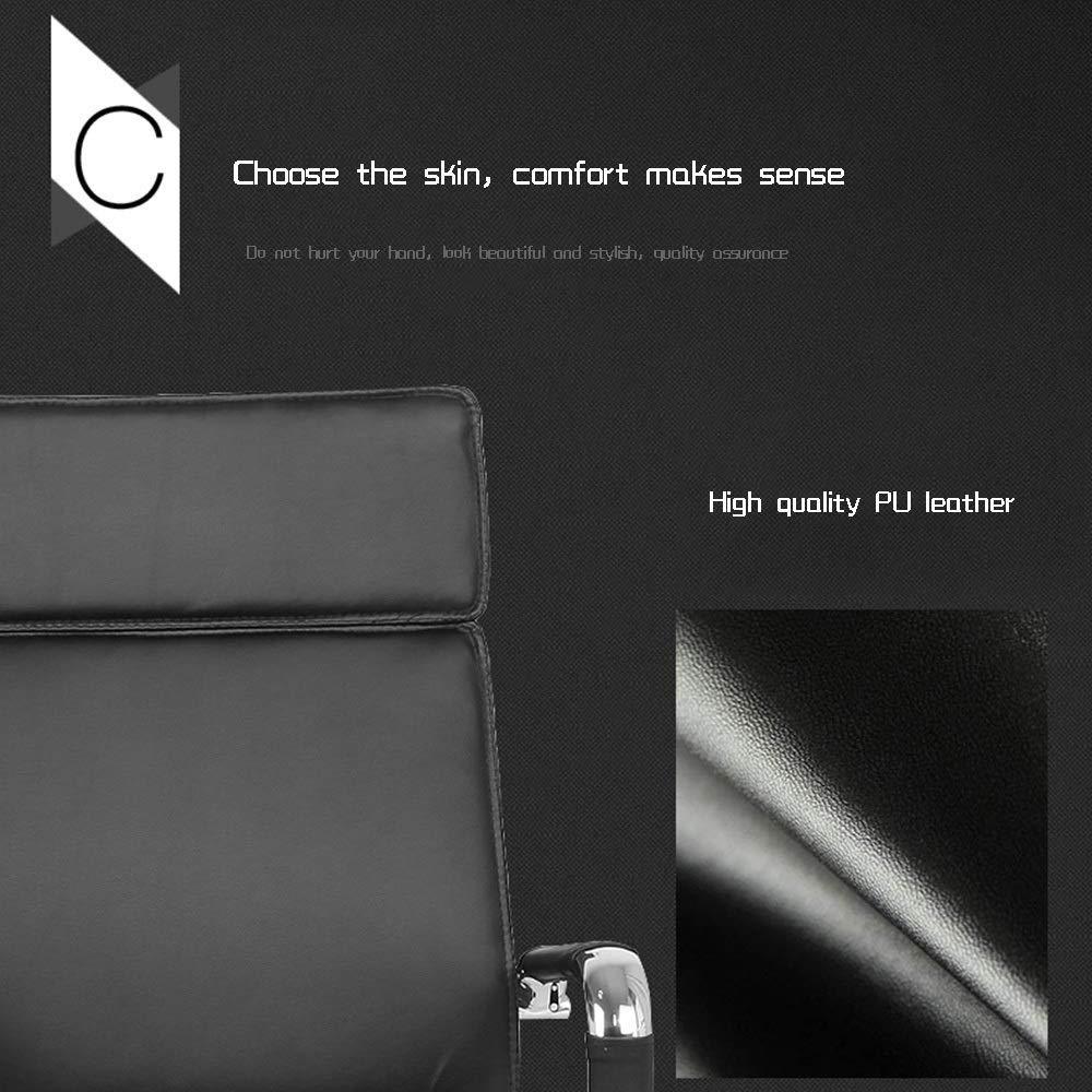 Dalovy bekväm högrygg PU läder skrivbordsstol, bågfot ergonomisk kontorsstol fixerat armstöd för kontor möte rum lager kapacitet: 150 kg Vitt