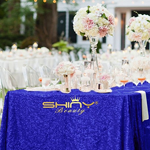 ShinyBeauty 60inx102in Sequin Tablecloth For Wedding/Party-- (Royal - Polyester Tablecloth 108' Round
