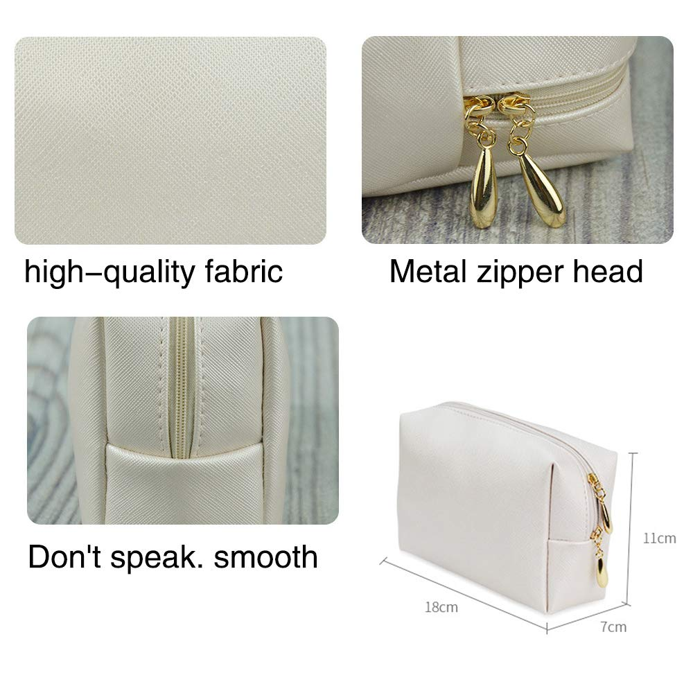 5294abbfbe3d Etmury Cosmetics Bag Leather Makeup Case with Gold Zippered for ...