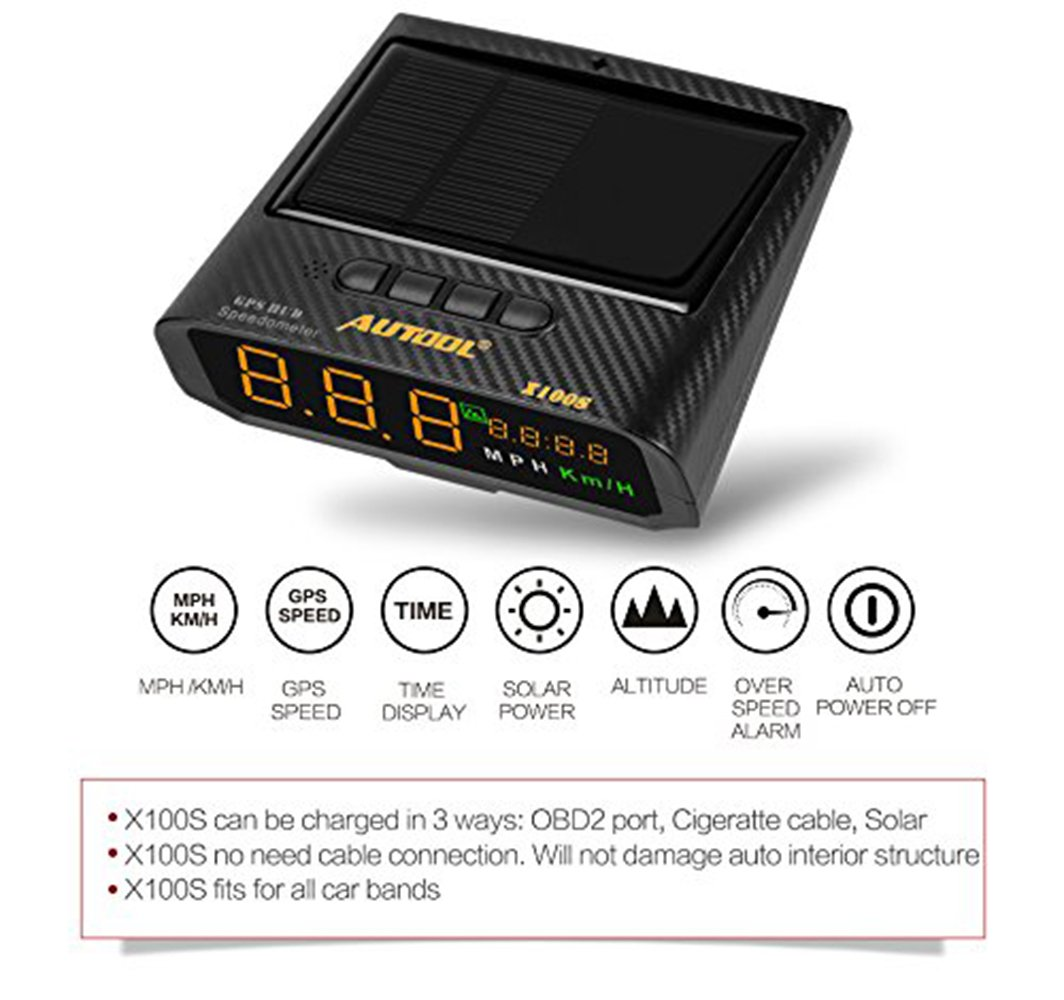 B-Qtech Solar Power GPS HUD Head Up Display, Speedmeter MPH/KMH with Altitude Over Speed Alarm Drive Distance Display Fatigue Driving Alarm by B-Qtech (Image #3)