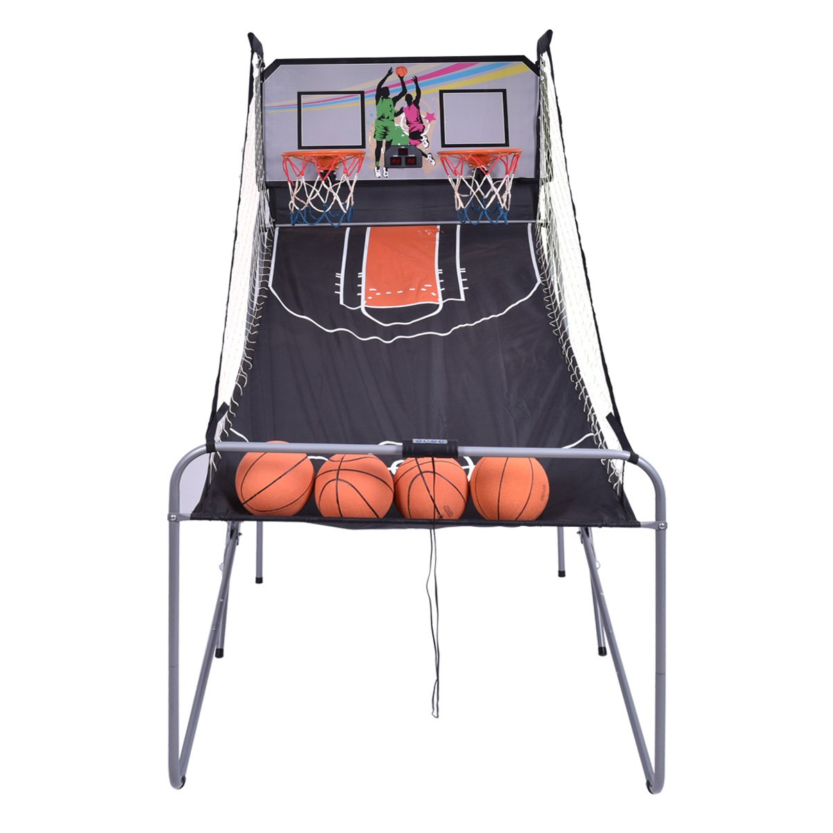 GYMAX Electronic Basketball Game, Double Shot Basketball Arcade Game 2 Players with 2 Rims 4 Balls