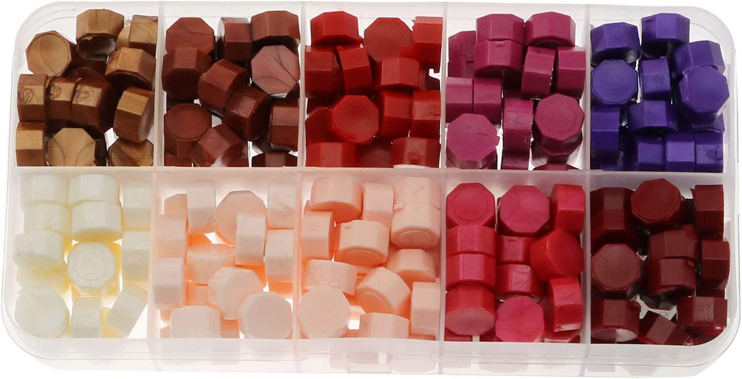 NX Garden 200pcs Octagon Sealing Wax Seal Beads Set Stamp Beaded Waxes in A Box for Cards Envelopes, Wedding Invitations, Wine Packages, Gift Wrapping, Pink Series