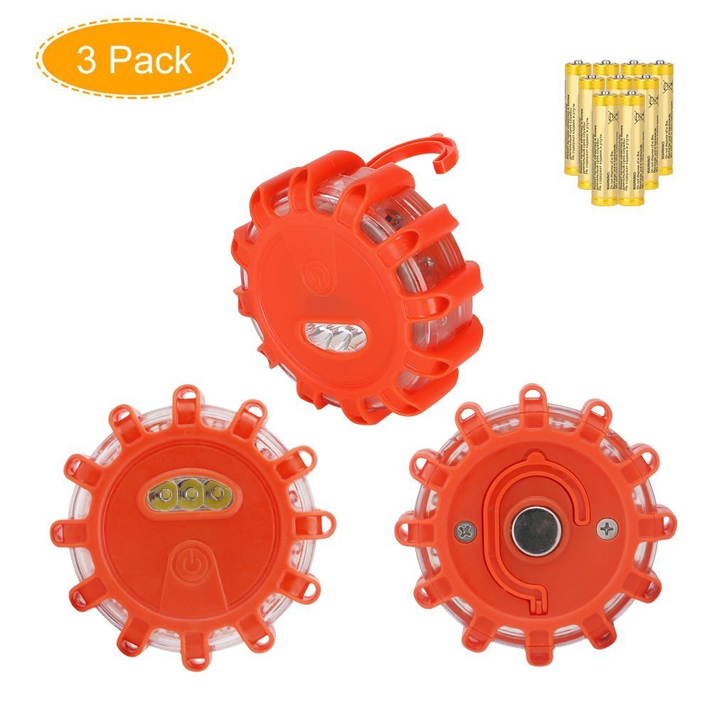 Amazon warning lights safety signs signals industrial coquimbo 3 pack led road flares safety flare flashing warning lights roadside emergency disc led flare biocorpaavc