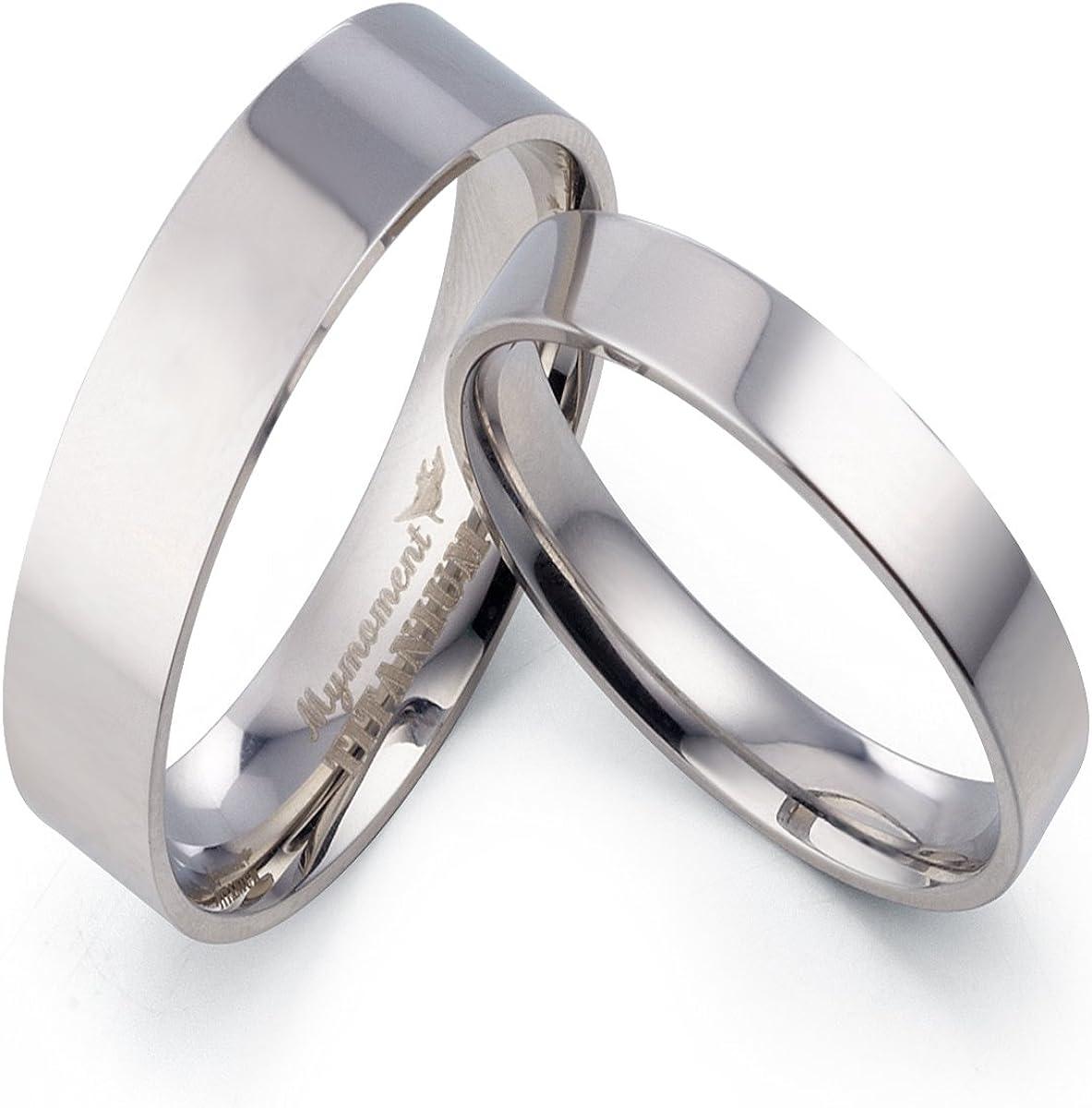 13 Women Ring Size Gemini His /& Her Groom /& Bride Plain Flat Court Comfort Fit Matching Wedding Engagement Titanium Rings Set 6mm /& 4mm Width Men Ring Size 9