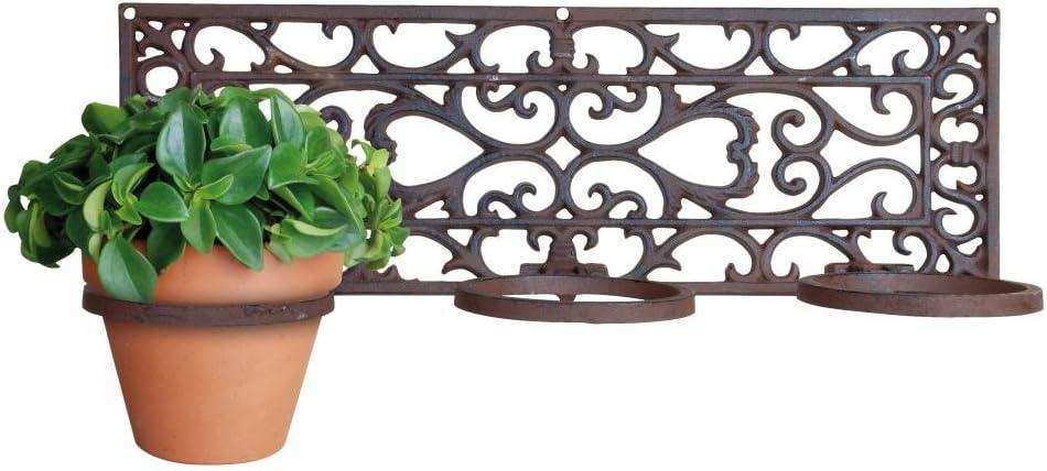 Esschert 18 X 52 X 16cm Cast Iron Flower Pot Holder Classic 3 Pots Brown Amazon Co Uk Garden Outdoors