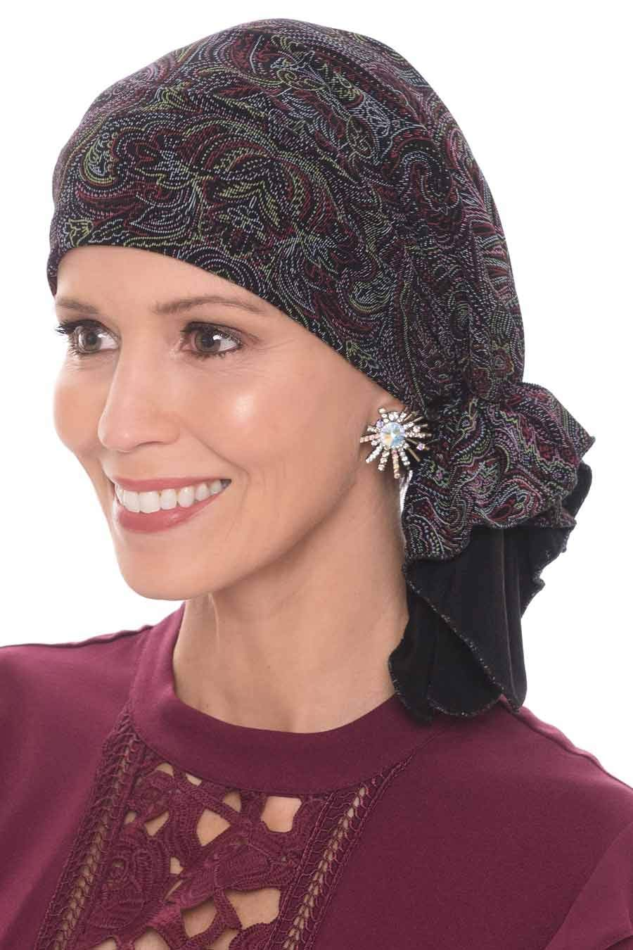 Slip-On Slinky Pre Tied Head Scarf - Scarves for Women with Cancer Chemo Vibrant Paisley