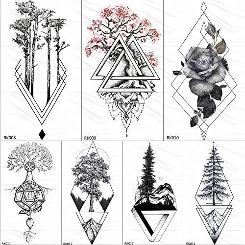 KAMRL Fake Tattoos Geometric Rose Plum Blossom Tree Temporary Tattoos Sticker Chains Custom Tattoo Art Arm Fake Tatoos Rose Diamond Diy