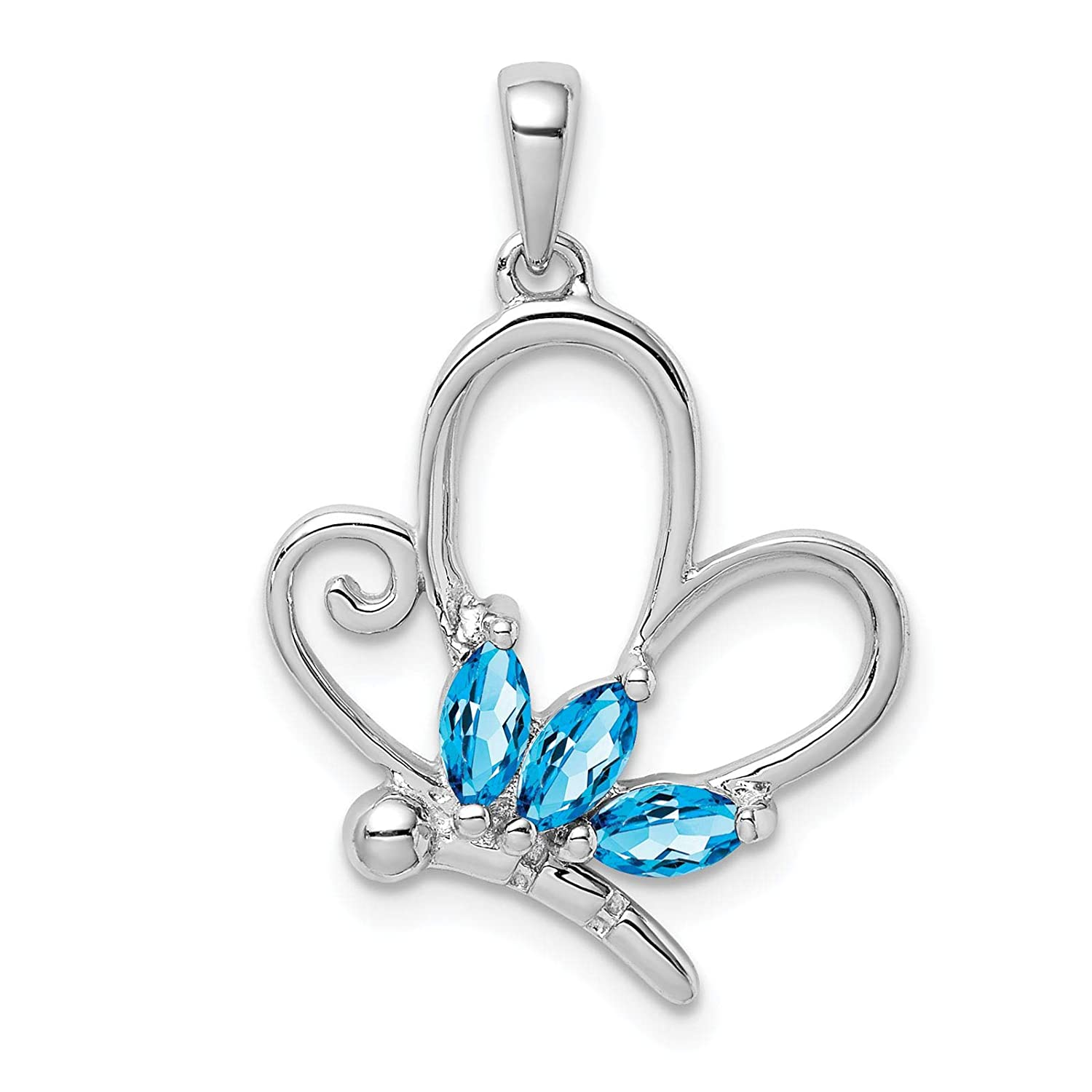925 Sterling Silver Polished Butterfly Charm Pendant