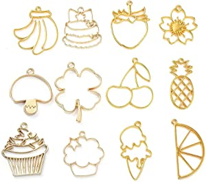 FASHEWELRY 12Pcs Zinc Alloy Open Back Bezel Pendants Golden Plant and Food Theme Hollow Pressed Flower Frame Charms for Resin Earrings Necklace Bracelet Jewelry Making
