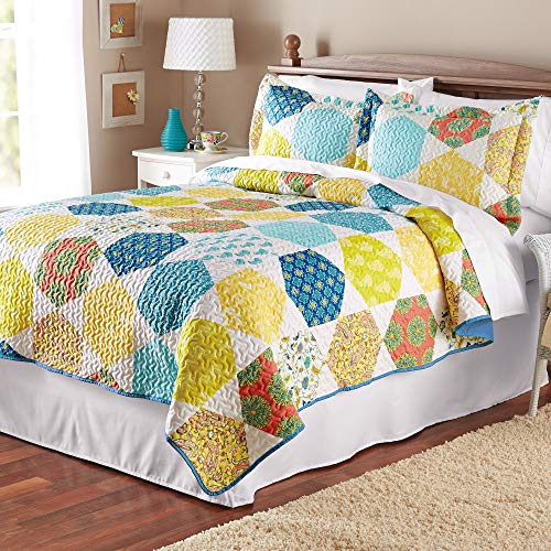 Mainstays Multicolor Hexagon Quilt Collection Multi Full/Queen