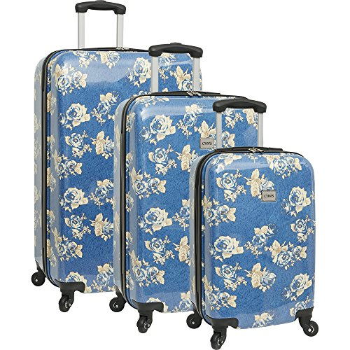 Chaps 3 Piece Hardside Spinner Luggage Set, Blue Rose