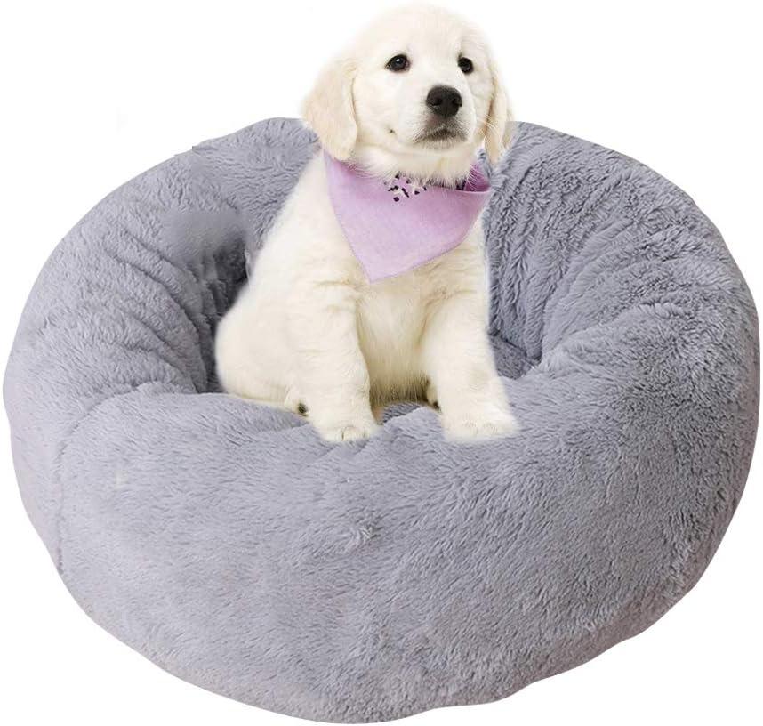 BVAGSS Cama para Mascotas Relajante Cama Redonda Nido Cálido para Gatos y Perros Pequeños XH029 (L, Light Grey)