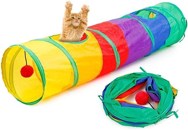 AOLVO - Túnel de juguete para gatos, plegable, con pelota para ...