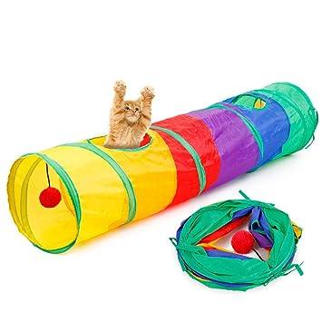 AOLVO - Túnel Plegable para Gatito con Pelota para Gato, Cachorro, Gatito, Conejo, Juguete Interactivo para Ocultar, Cazar y Descansar: Amazon.es: Productos ...