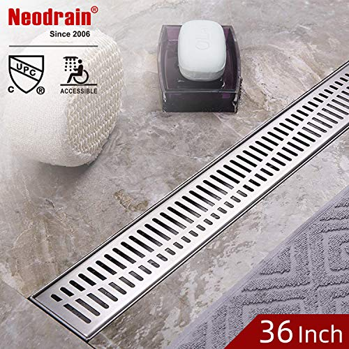 (Neodrain Linear Shower Drain 36-Inch with Removable Wave Pattern Grate,Professional Brushed 304 Stainless Steel Rectangle Shower Floor Drain Manufacturer,With Leveling Feet,Hair Strainer)