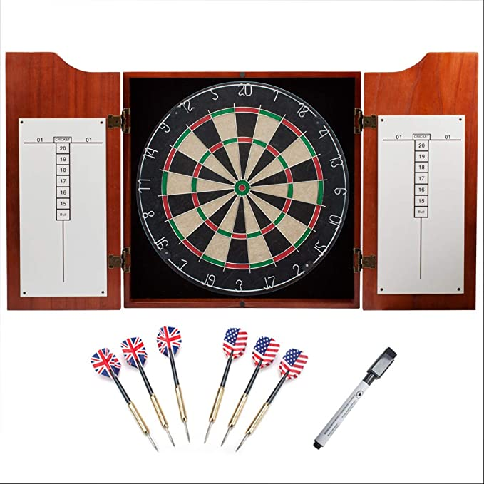 GSE Games & Sports Expert Solid Wood Dartboard Cabinet Set with Bristle Dartboard