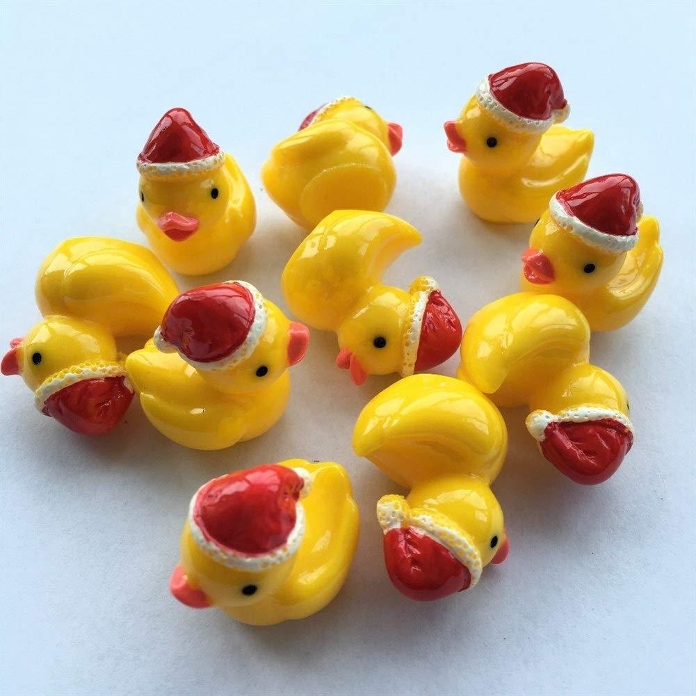 Color : Amarillo, Size : S WEATLY Amarillo 10 Piezas de Navidad Linda de los Patos Figuras Miniatura Artificial Pato Miniatura de Navidad for el Hada del jard/ín DIY Crafts