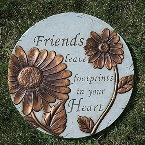 Friend Garden Stone - Friends Leave Footprints Garden Stepping Stone, 9 Inch