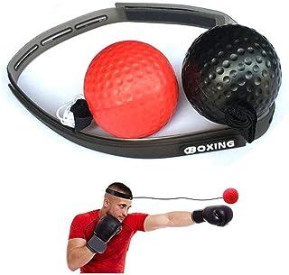 leegoal Balle de Boxe réflexe, Balle de Vitesse d'entraînement de Boxe Portable avec Bandeau sur chaîne pour la Coordination des Yeux de la Main et la précision de poinçonnage pour Adulte/Enfants