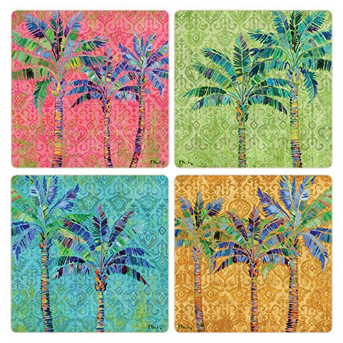 - CoasterStone Paradise Palms Absorbent Coasters (Set of 4), 4-1/4