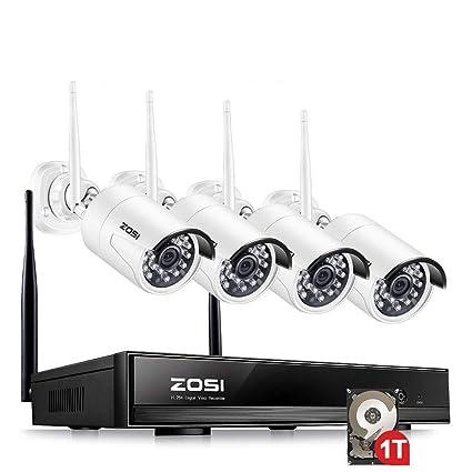 ZOSI 1080P 4 Canales CCTV Sistema de vigilancia NVR Inalámbrico con 4 Cámaras Blancas, 1TB