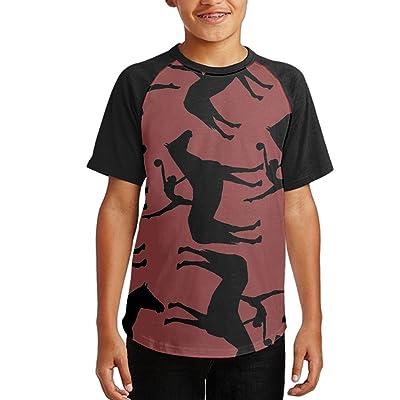 Horse Vaulting Girl Youth Short Sleeves Raglan Print Baseball T-Shirts Tops