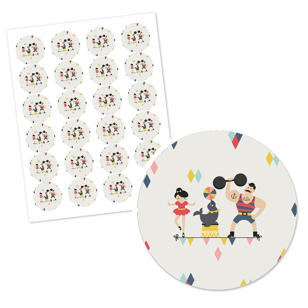 Carnival Circus 12 Count Cirque du Soiree Cupcake Picks with Stickers Baby Shower or Birthday Party Cupcake Toppers