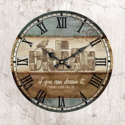 HUABEI Wooden Wall Clock 14 Inch Atomic Analog Battery Operated Silent Non Ticking - Vintage Rustic Roman Numerals Large Decorative for Home Bedroom Office Cafe