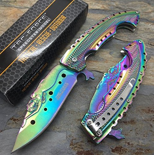 - The Best Tac Force Rainbow Titanium Coated blade w/ Stamped Mermaid Design Fantasy Knife