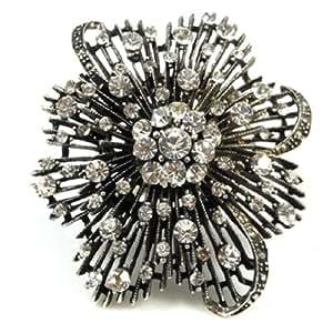 Tienda de anillos negro anillo de tono de plata con diamantes