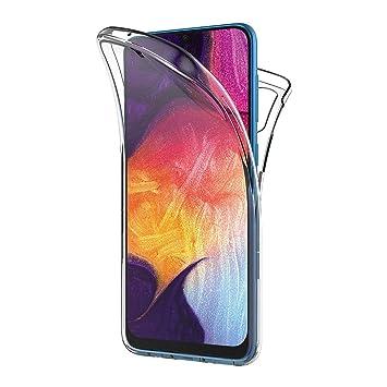 AICEK Funda Samsung Galaxy A50, Transparente Silicona 360°Full Body Fundas para Samsung A50 Carcasa Silicona Funda Case (6,4 Pulgadas)